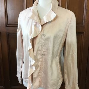 Chico's Women's Sz 1 jacket pink with ruffle butto